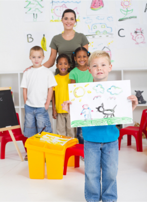 group of kids with teacher